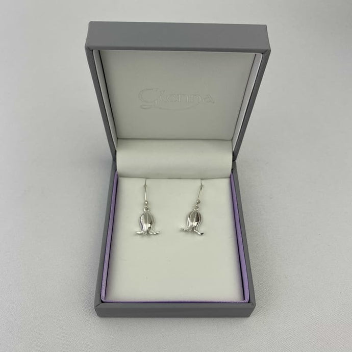 Silver Scottish Earrings with Bluebell design and short earring stem