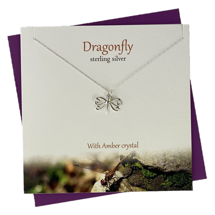Sterling Silver pendants for women with small dragonfly design and amber crystal