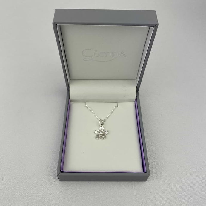 Silver Necklace and Pendant for her with Small flower design