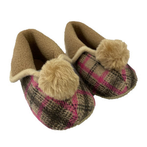 Scottish Baby Slippers for girls with Grandma Style brown and red check, fold over sides and pom pom on the front