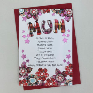 Mothers Day Card with Tartan Flowers and a Poem on the Front.