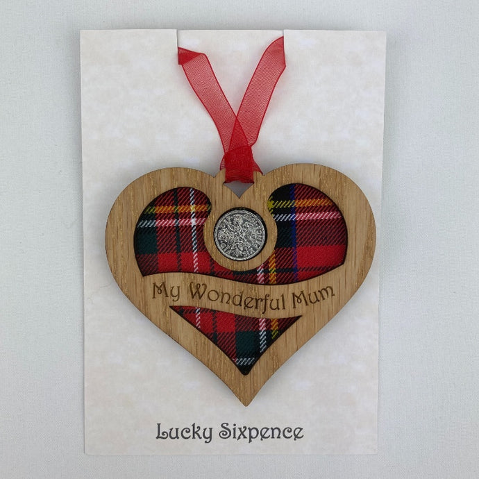 Wooden Plaque in the shape of a heart with lucky sixpence in the centre and 'my wonderful mum' text