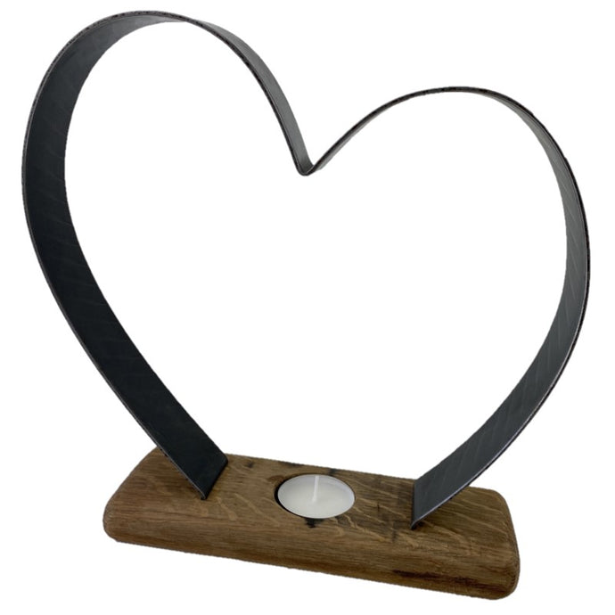 Wooden Tea Light Candle Holder with metal heart design and base made from whisky barrels