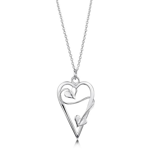 Silver Necklace and Pendant with Large Twisting Heart Deisgn