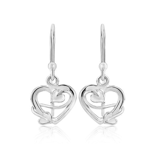 Silver Scottish Earrings for her with heart design and small drop