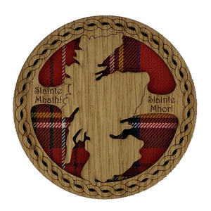 Circle Wooden Map Coaster with Scotland Map