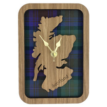 Load image into Gallery viewer, Wooden Clock Gift with Scotland Map in the centre made from Tartan