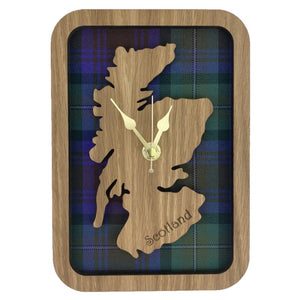 Wooden Clock Gift with Scotland Map in the centre made from Tartan