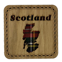Load image into Gallery viewer, Square Wooden Map Coaster with Scotland Map made from red tartan