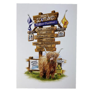A4 Scottish print with tall sign post with facts about scotlands population and highland cow at the bottom