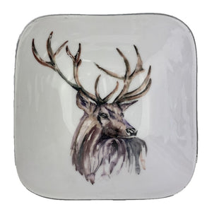 Quirky homeware square bowl with silver outline and stag head in the centre