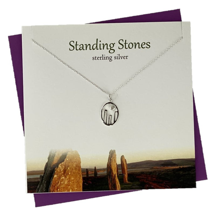 Sterling Silver pendants for women with Callanish Stones design and crystal
