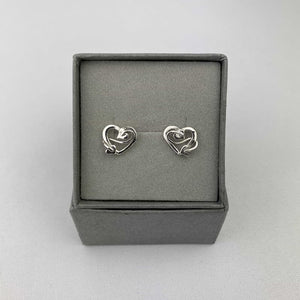 Small Silver Stud Earrings with Sweetheart Design