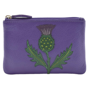 Womens coin purse in purple with thistle embroided design