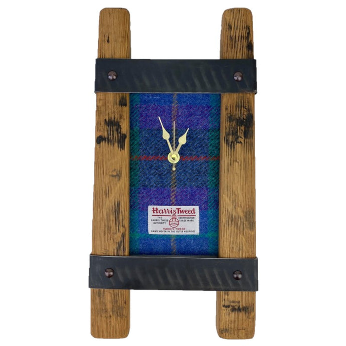 Wooden Clock Gift with Harris Tweed Clock Face and metal border
