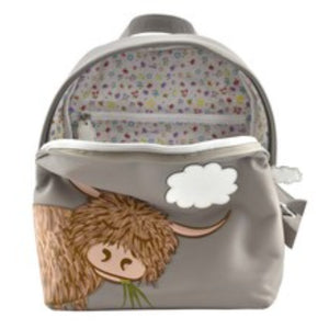Applique highland cow leather backpack
