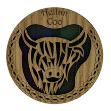 Load image into Gallery viewer, Round Wooden Mug Caoster with Highland Cow Design
