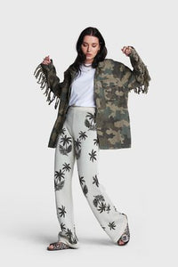 Alix the label Ladies woven camouflage jack fringes