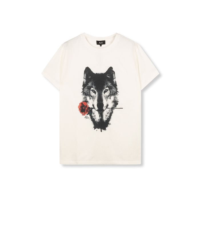 Ladies knitted wolves T-shirt  012 Soft White
