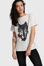 Afbeelding in Gallery-weergave laden, Ladies knitted wolves T-shirt  012 Soft White