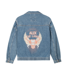 ALIX THE LABEL Ladies woven denim biker jacket | Bij Saar Thuis Haarlem