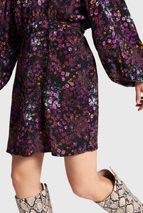 Ladies woven ditsy flower fake wrap dress