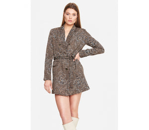 Ladies woven graphic animal blazer