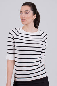 Moscow top viscose  Off-white/Black