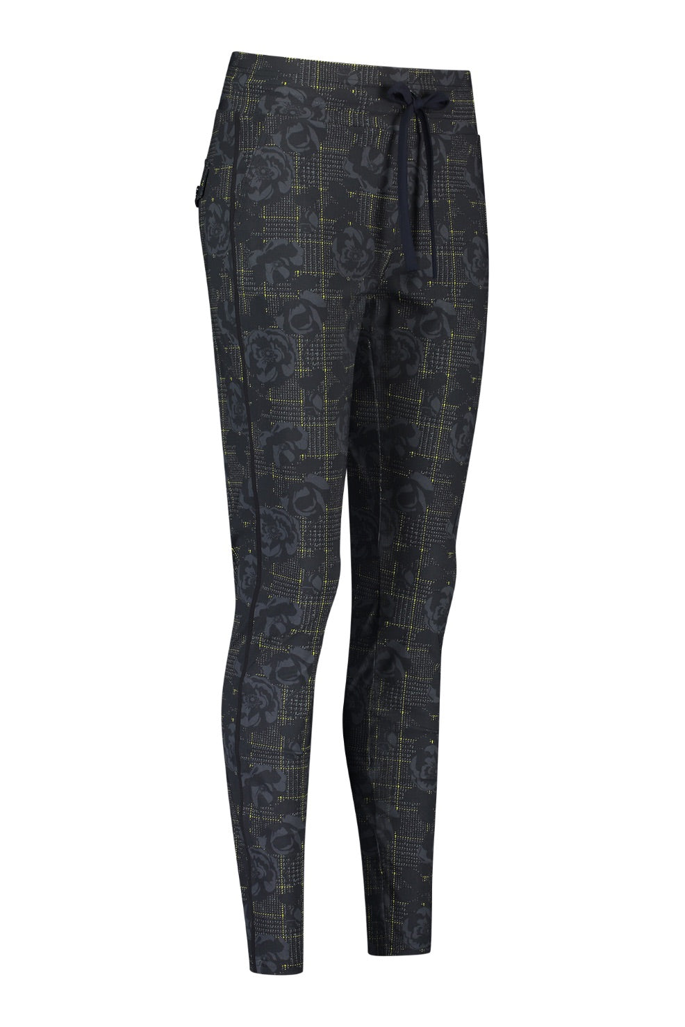 Road flower check trousers