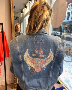 Ladies woven denim biker jacket