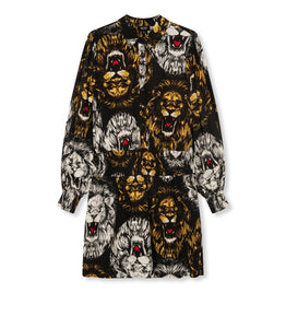 ladies woven oversized lion blouse dress