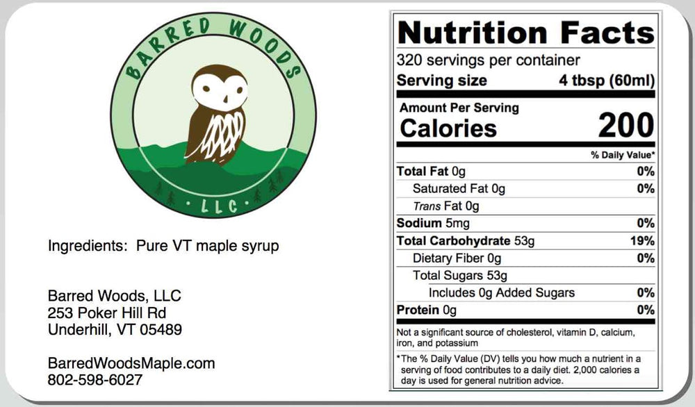 Load image into Gallery viewer, Bulk Maple Syrup Nutrition label, serving size, and servings per container for a 5 gallon pail of maple syrup