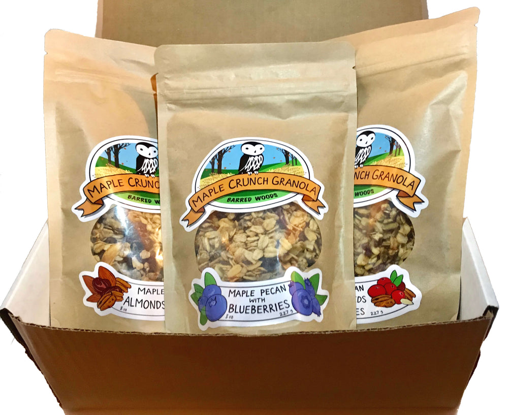 Maple Crunch Granola Sampler Box - One 8 oz Bag Each of Three Flavors - Barred Woods Maple