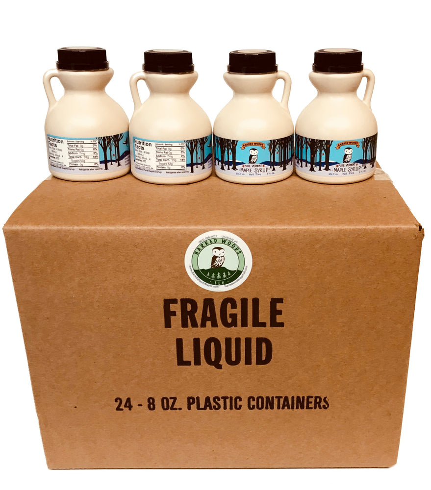 Case of 24 1/2 Pint Jugs, Perfect for Favors or to Say Thanks - Barred Woods Maple