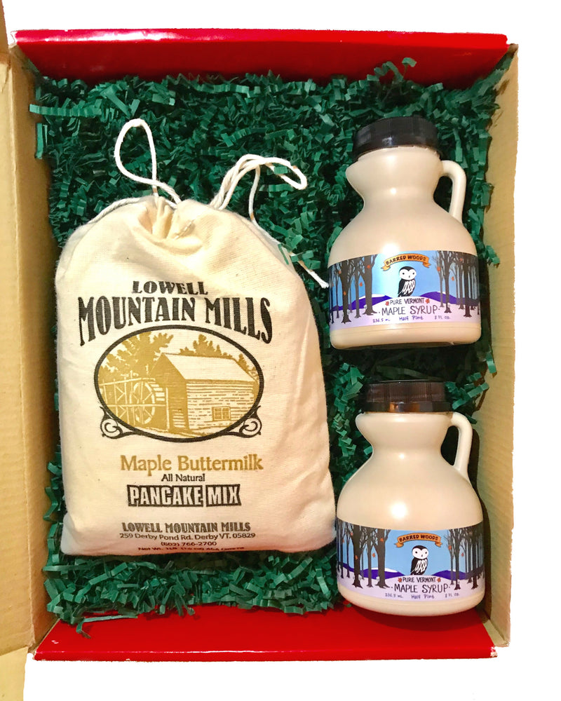 Vermont Gift Box with Two 1/2 Pint Jugs of Maple Syrup - with options - Barred Woods Maple