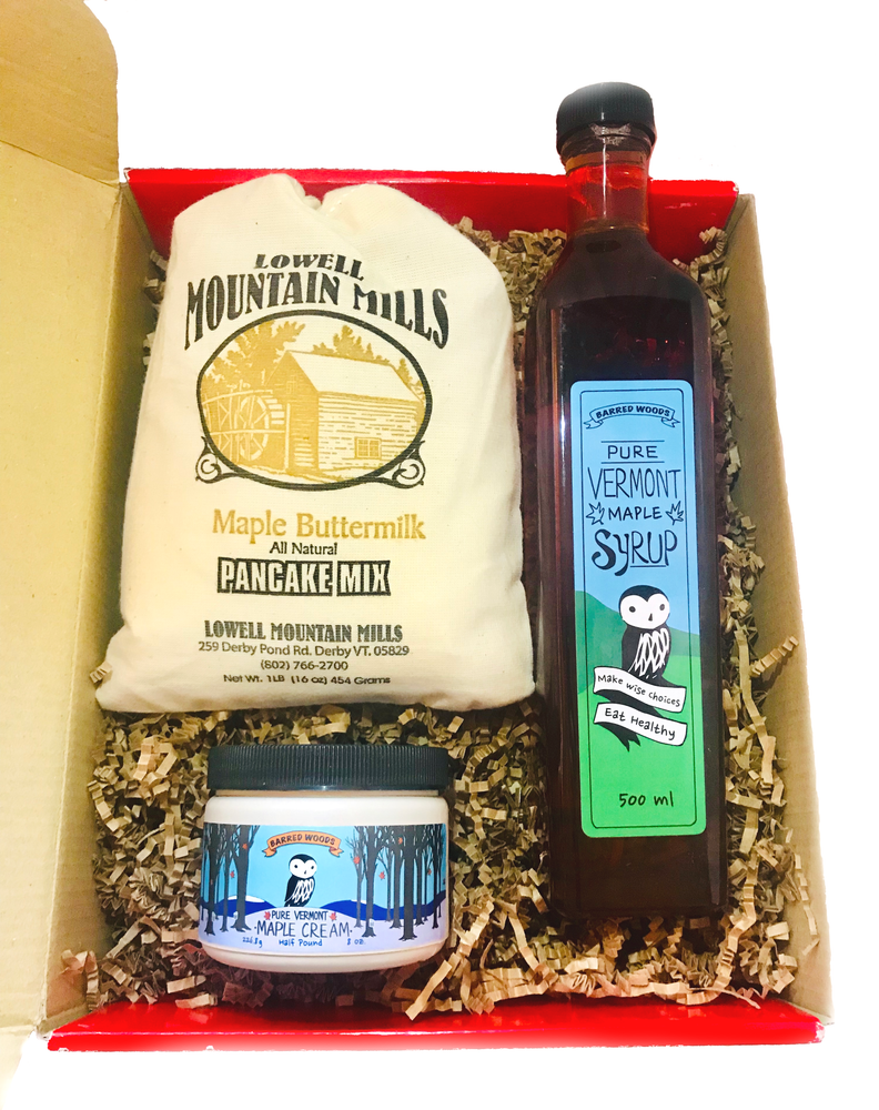 Vermont Gift Box with One 500ml Artisan Bottle of Vermont Maple Syrup with Options - Barred Woods Maple