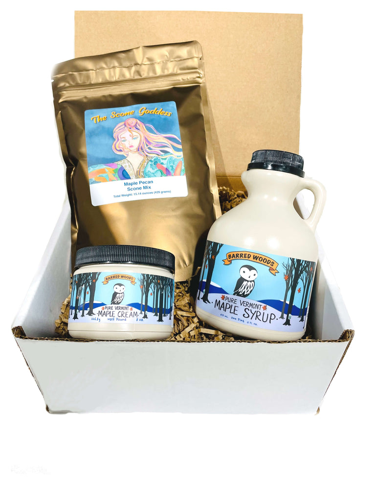 New England Gift Box - Maple Scone Mix, Maple Cream and Maple Syrup