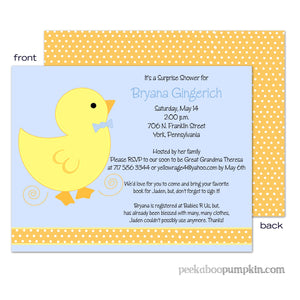 Lucky Ducky Blue Baby Shower Invitations