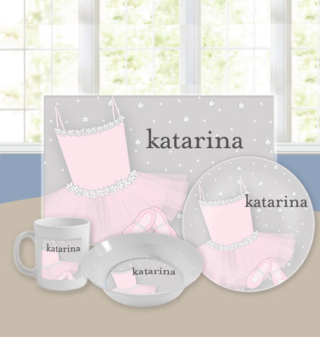 Personalized Kids Tableware Set - Ballerina Girl