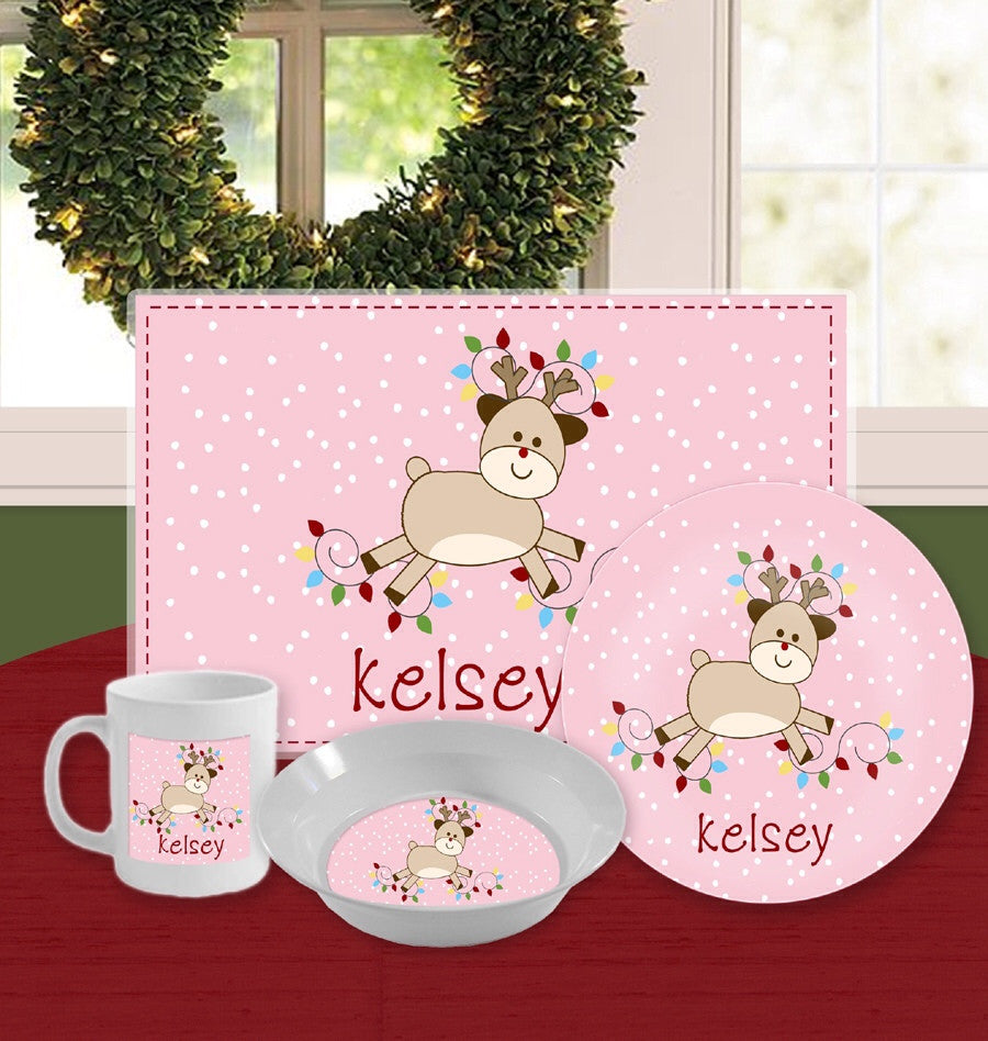 Personalized Kids Tableware Set - Randy Rudolph Pink