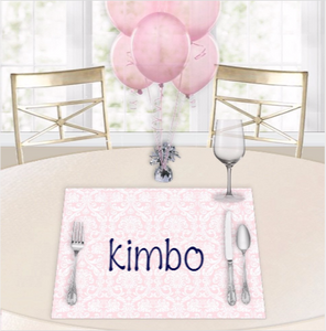Damask Pink Baby Shower Placemats