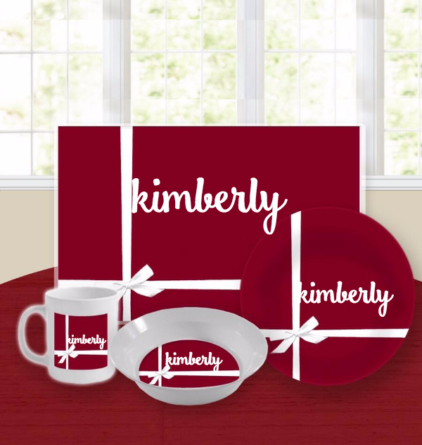 Personalized Kids Tableware Set - Classic Box Red
