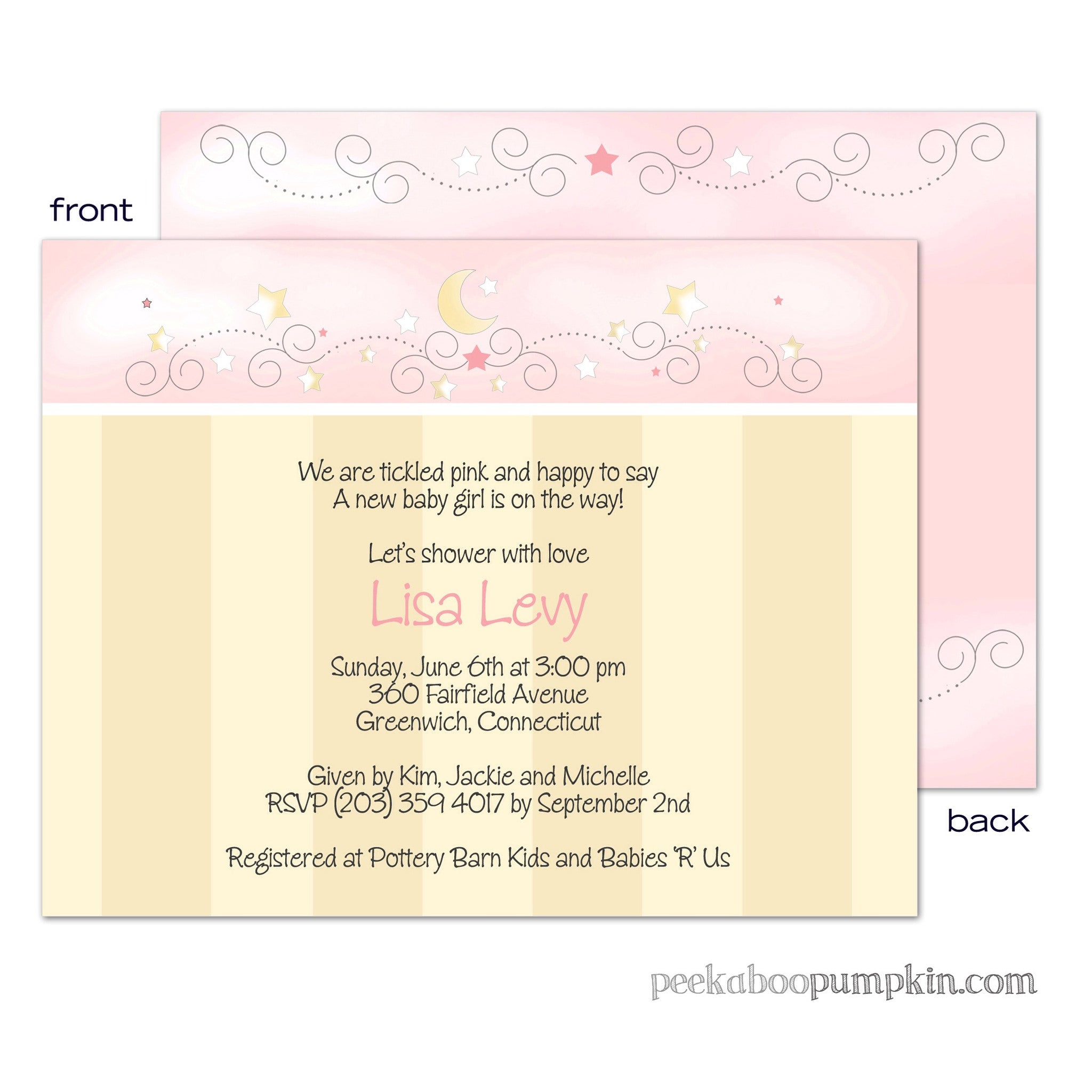 Twinkle Twinkle Pink Baby Shower Invitations