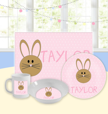 Personalized Kids Tableware Set - Easter Bunny Pink