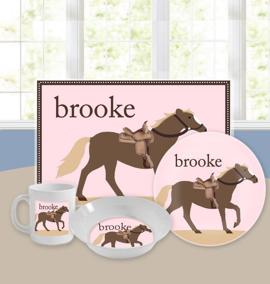 Personalized Kids Tableware Set - Giddy Up Pink