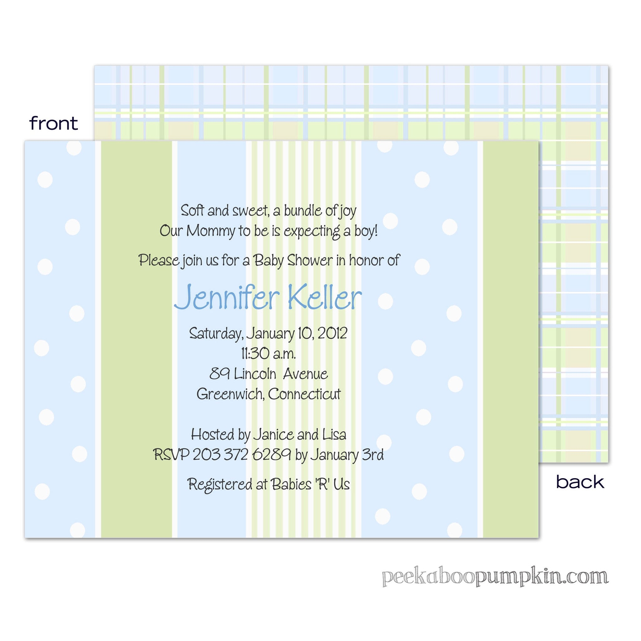 Preppy Blue Baby Shower Invitations