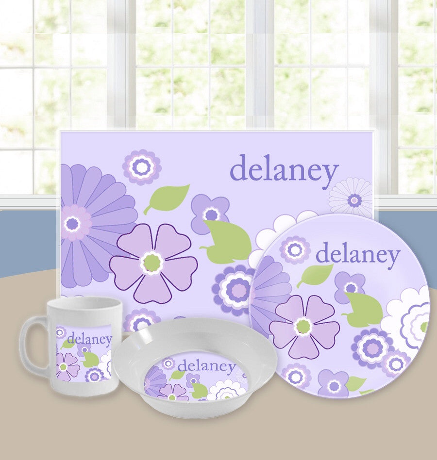 Personalized Kids Tableware Set - Vintage Floral Purple