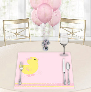 Lucky Ducky Pink Baby Shower Placemats