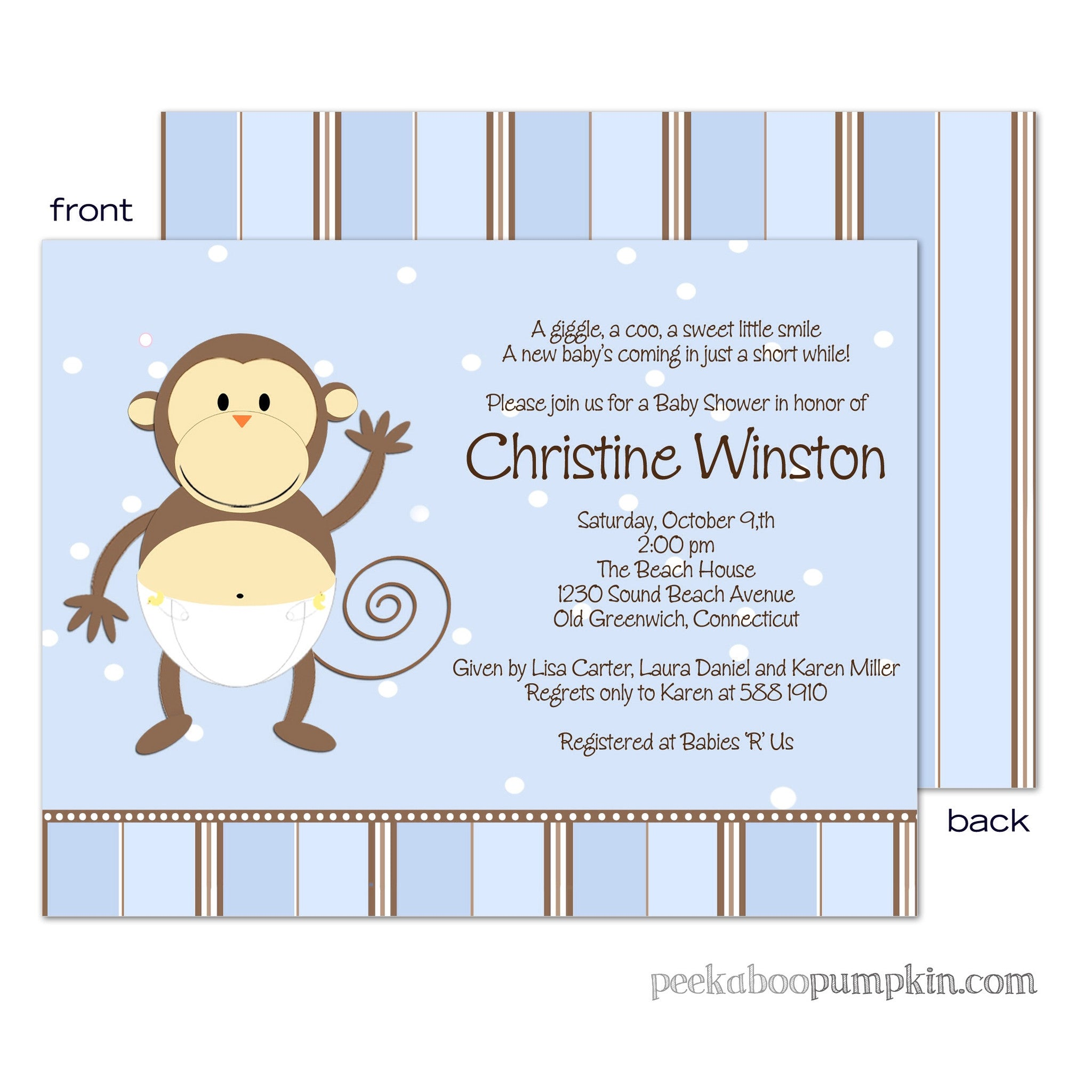 Monkey Moo Blue Baby Shower Invitations