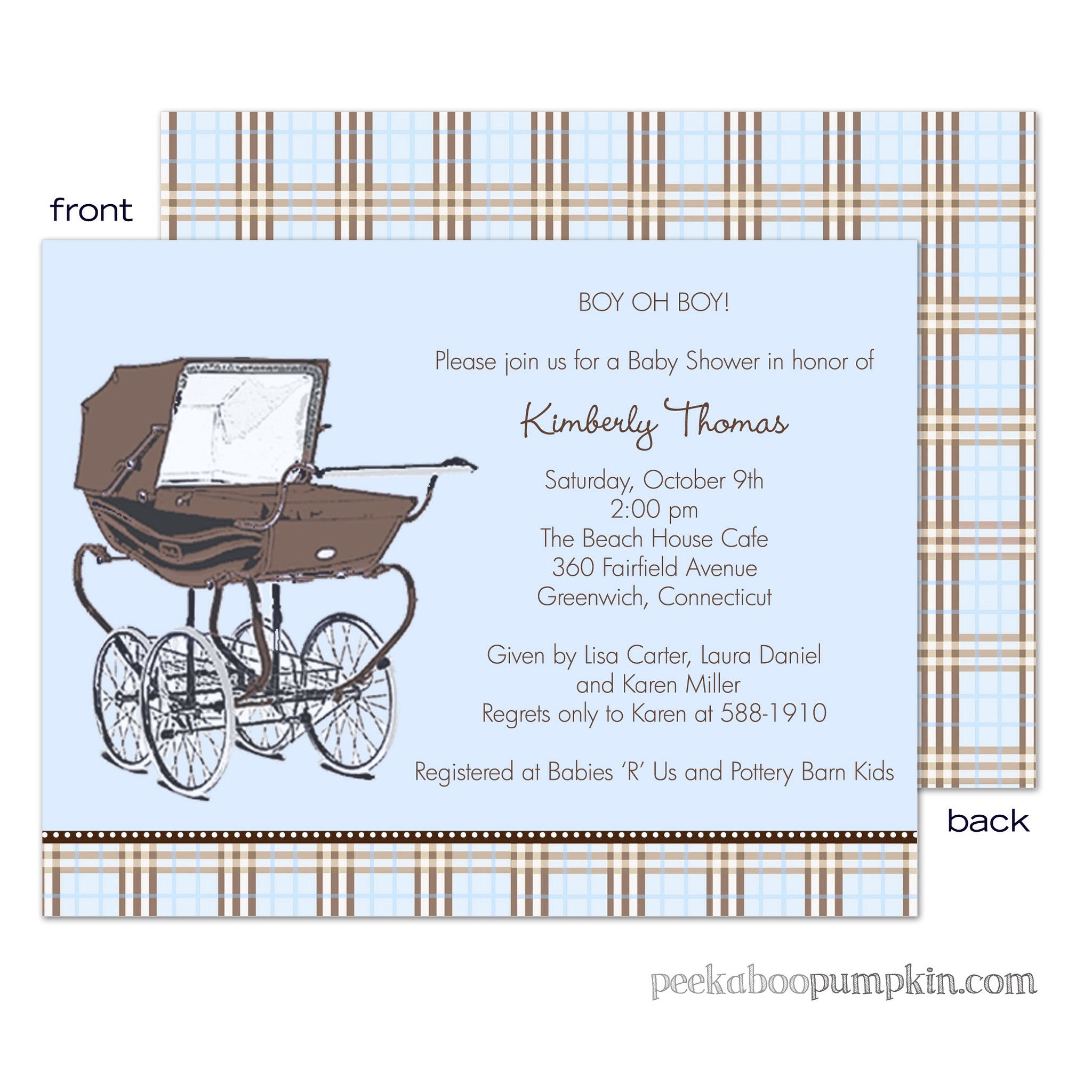 Central Park West Blue Baby Shower Invitations